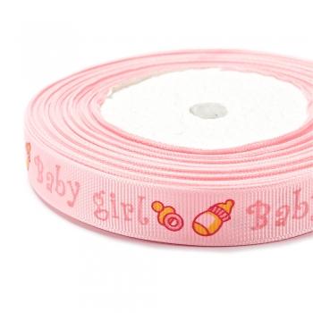 Лента репсовая 15 мм розовая с надписью Baby girl