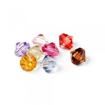 Двуконические кристаллы. Прозрачный. Микс размеров. 10 мм
