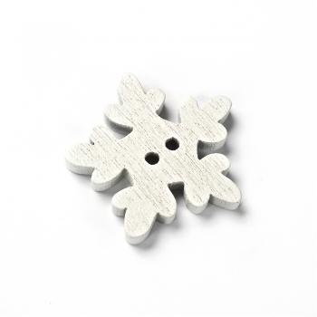 Ґудзик дерев'яний Сніжинка біла