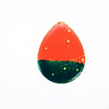 Кулон металевий червоно-зелений