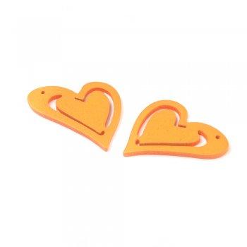Підвіски дерев'яні. Серце помаранчеве. Розмір 25 * 23 мм.