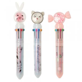 Ручка багатоколірна Звірі 10 кольорів