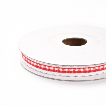Лента полиэстеровая 10 мм клетчатая красная