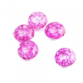 Пластик с кракелюром. Розовый. Бусина малая круглая плоская.