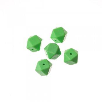 Бусины силиконовые зеленые многогранники