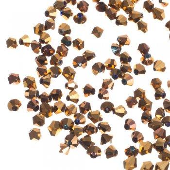 Хрустальная бусина двуконическая, золотистый металлик, 8 мм