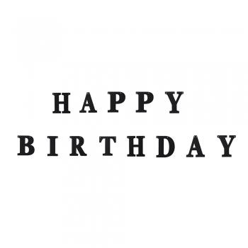 Гирлянда блестящая Happy Birthday черная