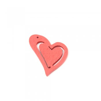 Підвіски дерев'яні. Серце червоне. Розмір 25 * 23 мм.