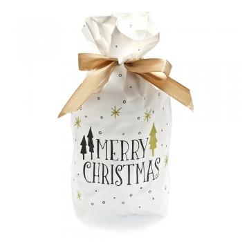 Пакет для подарков белый Merry Christmas