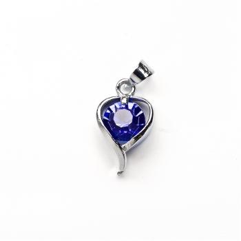 Кулон металевий Серце з синім каменем