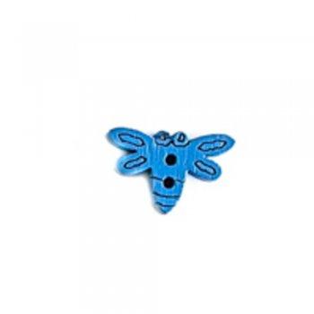 Метелик маленький, ґудзик дерев'яний, синій, 16х10 мм