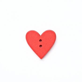 Пуговица деревянная светло-красная Сердце 24х24 мм