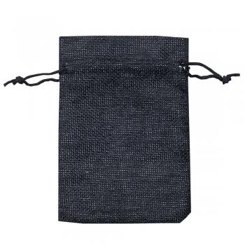 Декоративний мішечок з мішковини 14х10см чорний