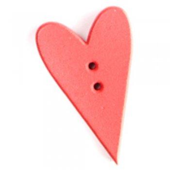 Сердце большое, деревянная пуговица, красная, 34х21 мм