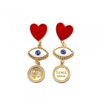 Сережки серце з підвіскою око