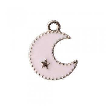 Металлическая подвеска с эмалью Луна розовая
