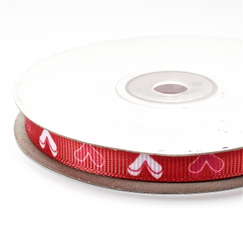 Лента репсовая 10 мм красная с сердечками