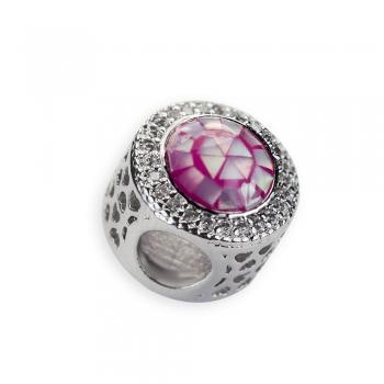 Металева намистина шарм LUX кругла рожева