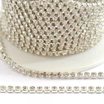 Стразовая цепочка, SS10, серебро, прозрачный хрусталь