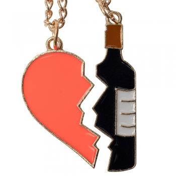 Цепочка с подвеской я люблю вино (пара)