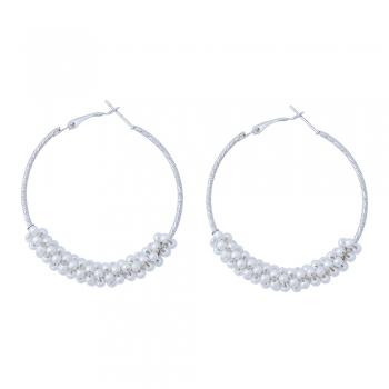 Сережки кільця з перлами сріблясті