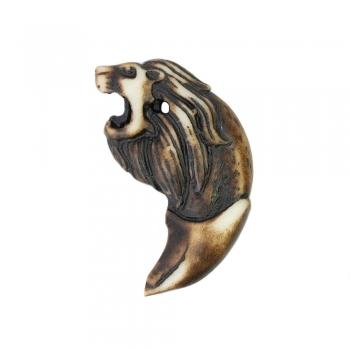 Этнический пластик клык с головой льва
