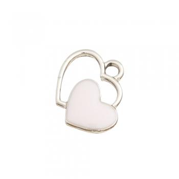 Металлическая подвеска с эмалью Два сердца белое