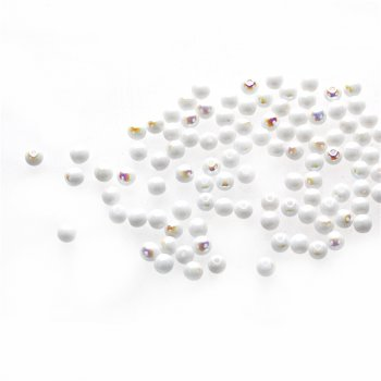 Чеські скляні намистини білий опаковий райдужний кругла 4 мм
