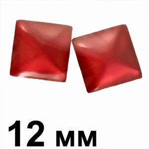 Пластиковые кабошоны красный выпуклый квадрат 12 мм