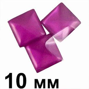 Пластикові кабошони фіолетовий квадрат 10 мм очей