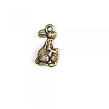 Великодній Кролик, металева лита підвіска, бронза, 10х15 мм