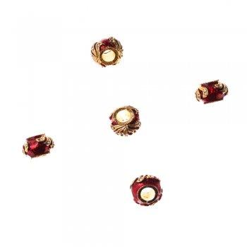Металлическая бусина шарм с эмалью, под золото, 12 мм