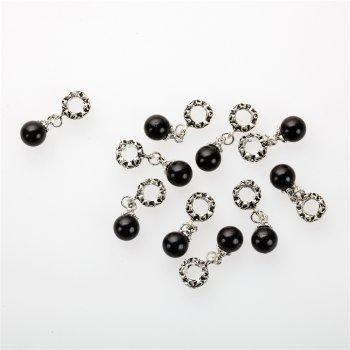 Подвеска-шарм цветочная чёрная медь и пластик 5 мм