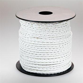 Шнур-косичка белый кожзаменитель 3 мм