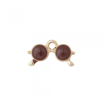 Металлическая подвеска с эмалью коричневые очки