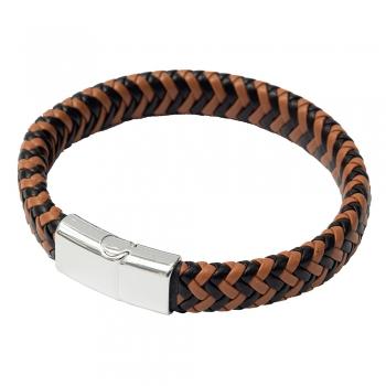 Плетений браслет з пресованої шкіри коричнево-чорний