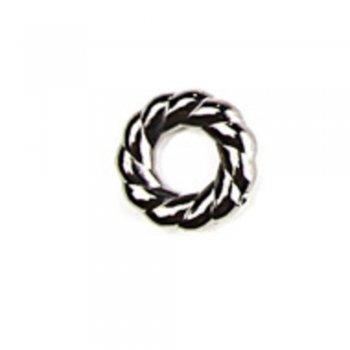 Пластиковая бусина-кольцо под металл, мельхиор, 16 мм