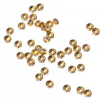 Редкая разделительная бусина, под золото, 8 мм