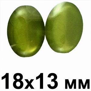 Пластикові кабошони зелений опуклий овал