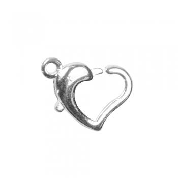 Карабин сердцевидный, серебро, 12 мм