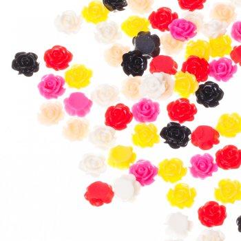Роза. Пластиковый  клеевой кабошон, 10 мм, микс цветов