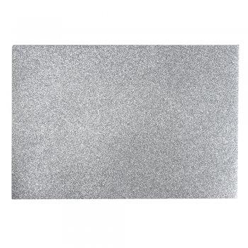 Фоамиран с глиттером 20 х 30 см серебристый