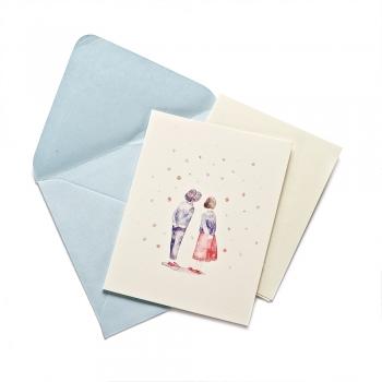 Листівка з конвертом Дівчинка з Хлопчиком