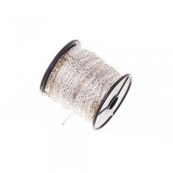 Цепь с цельными звеньями, серебристая. Калибр 1,5 мм, ширина звена 1,5 мм, длина звена 3 мм