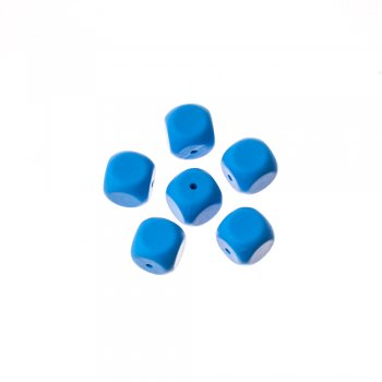 Бусы силиконовые синие кубики