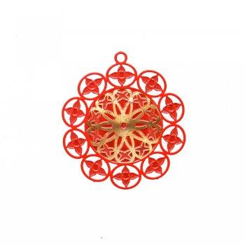 Кулон металлический красный золотой