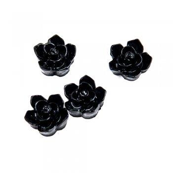 Пластиковые клеевые элементы. Цветок черный
