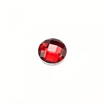 Стразы пластиковые пришивные. Красный. Диаметр 8 мм.