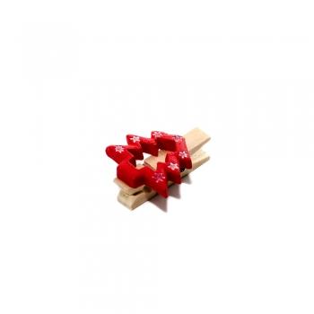 Прищіпка дерев'яна з декором з полімерної глини Ялинка контур