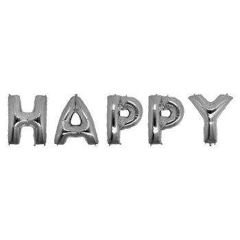 Шарики надувные в виде слова HAPPY 100 см серебро